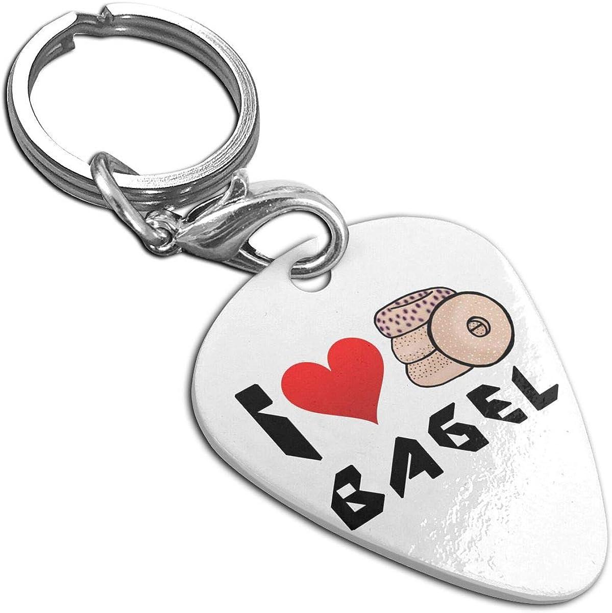 I Love Bagel Custom Guitar Pick Pendant Necklace Keychain