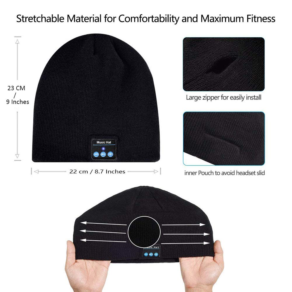 Upgraded Bluetooth Beanie Hat Wireless Headset Headphones Winter Music Speaker Hat Knit Running Cap with Stereo Speakers & Mic Unique Christmas Tech Gifts for Men Women Teens Boys Girls Stocking Stuff