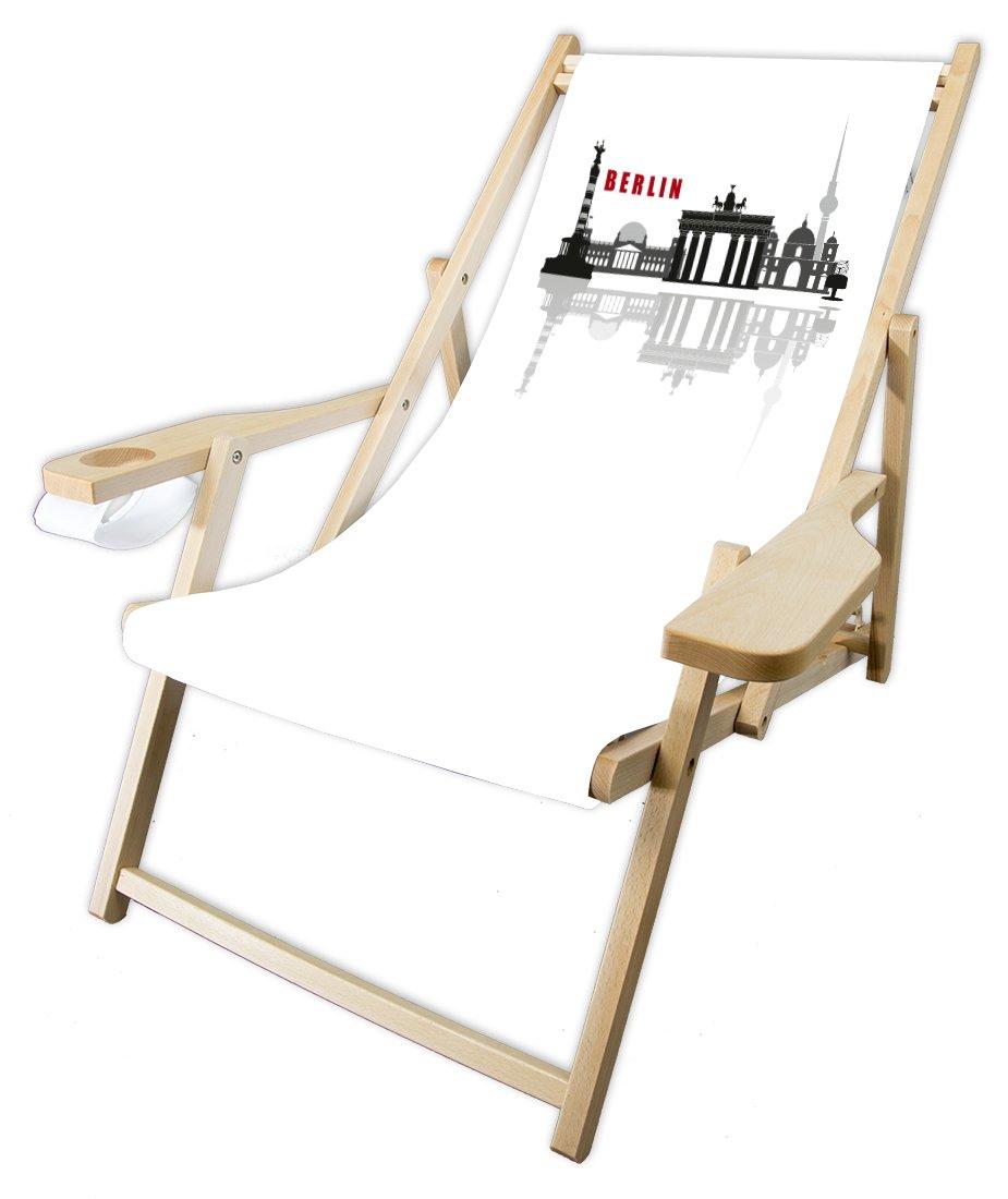 MultiBrands® Holz-Liegestuhl, mit Armlehne und Getränkehalter, klappbar, Skyline Berlin