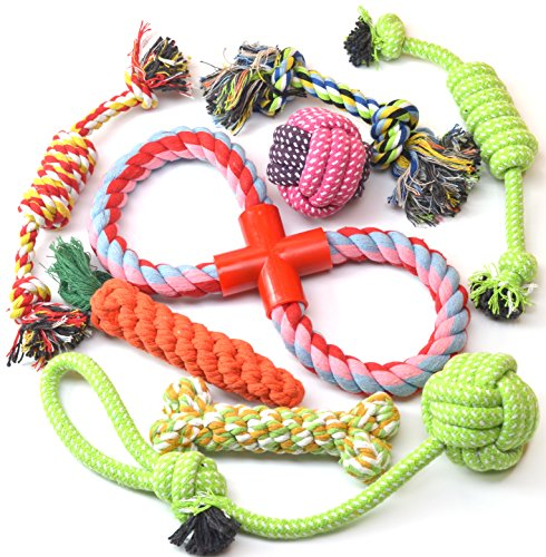 UJMozaic Dog and Puppy Rope Toys (8 Pack), Best for Play, Training, Teething, Clean teeth, Gift. Dog ball, Tug rope for Small to Medium dogs and Puppy