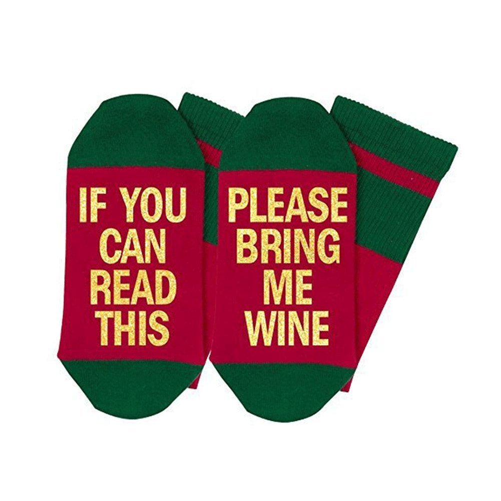 Spiritlele Wine Socks - If You Can Read This Please Bring Me Wine - Cotton Socks