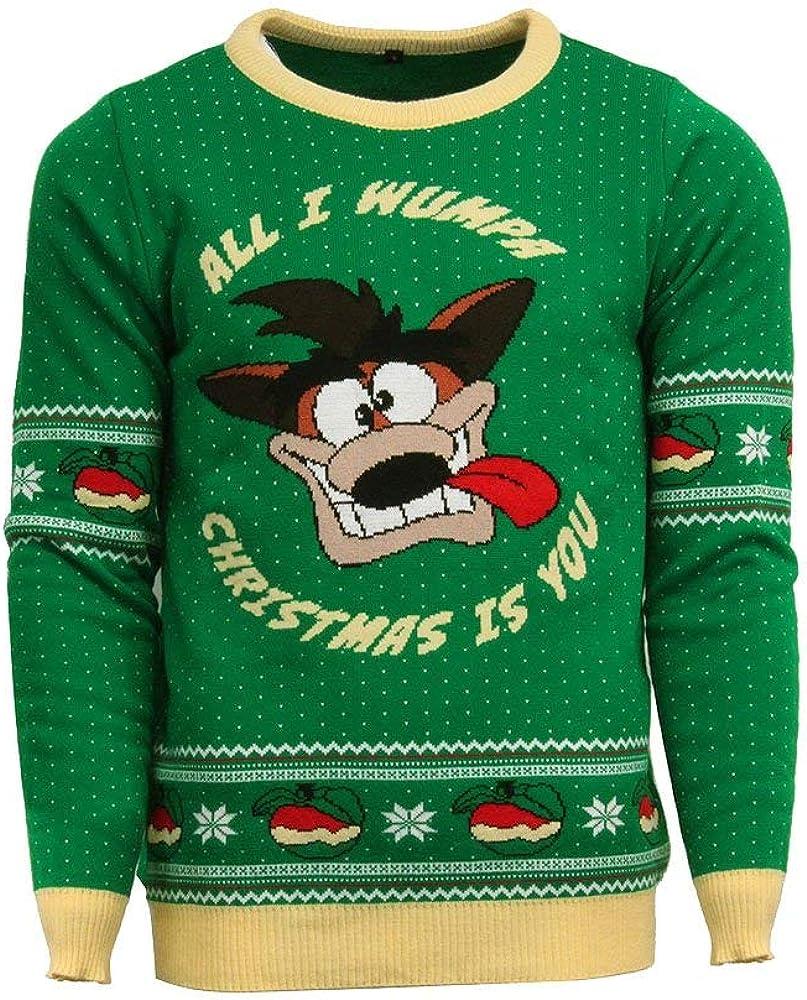 Numskull Unisex Official Crash Bandicoot Knitted Christmas Jumper for Men or Women - Ugly Novelty Sweater Gift