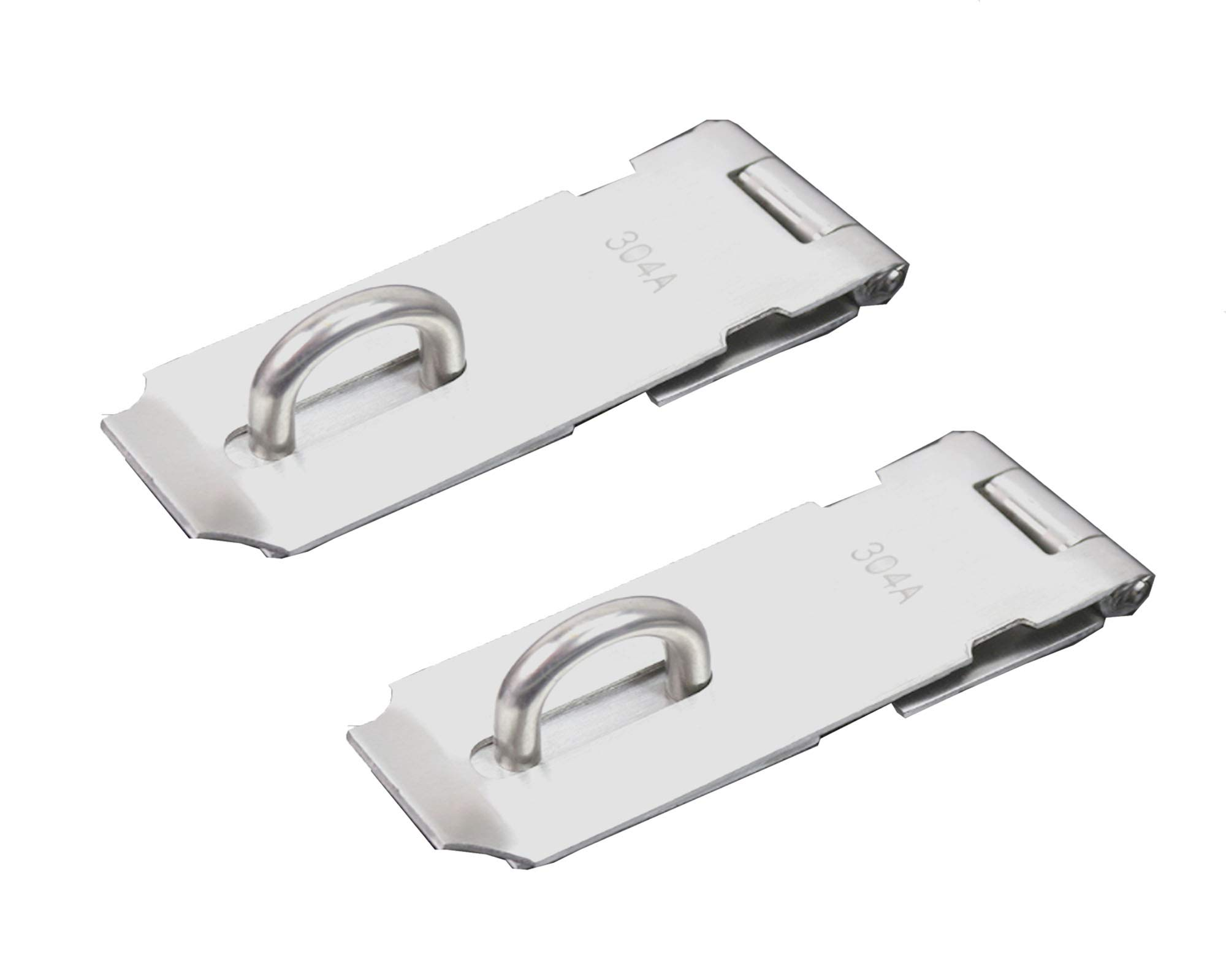 FGen 2pcs Thick Lock 304 Stainless Steel Buckle Can Be Added Padlock Vintage Cabinet 5 Inch Door Buckle Silver