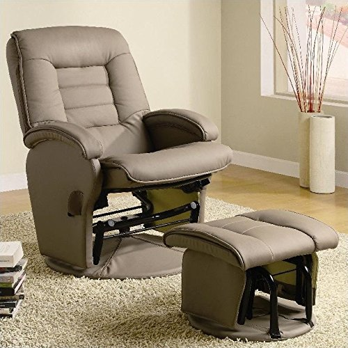600166 Recliner Beige Leatherette Glider With Ottoman by Coaster Fine Furniture (Glider Recliner Leatherette)