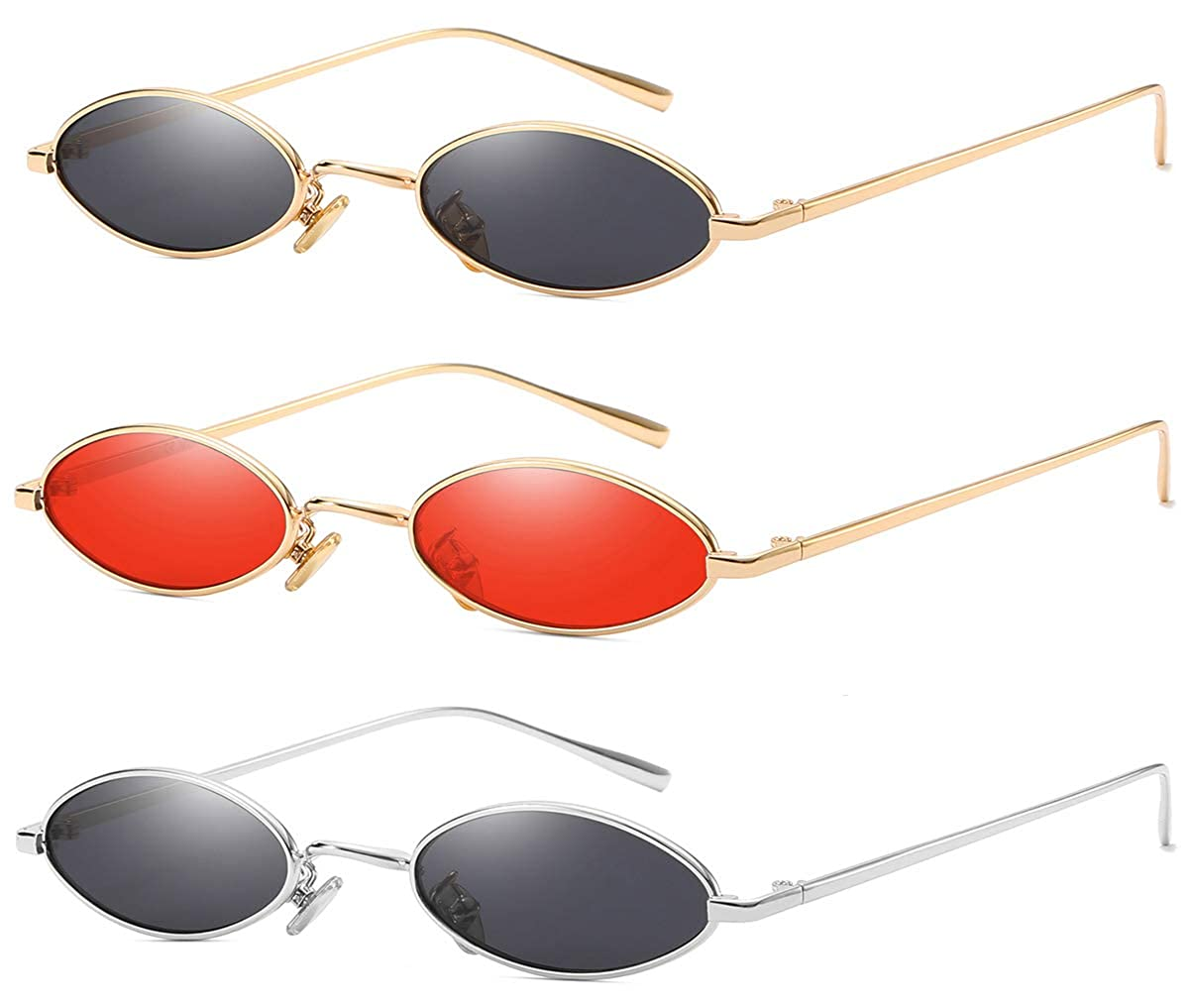 3pack Red Lens gold Frame Grey Lens Silver Frame Grey Lens gold Frame AOOFFIV Vintage Slender Oval Sunglasses Small Metal Frame Candy colors