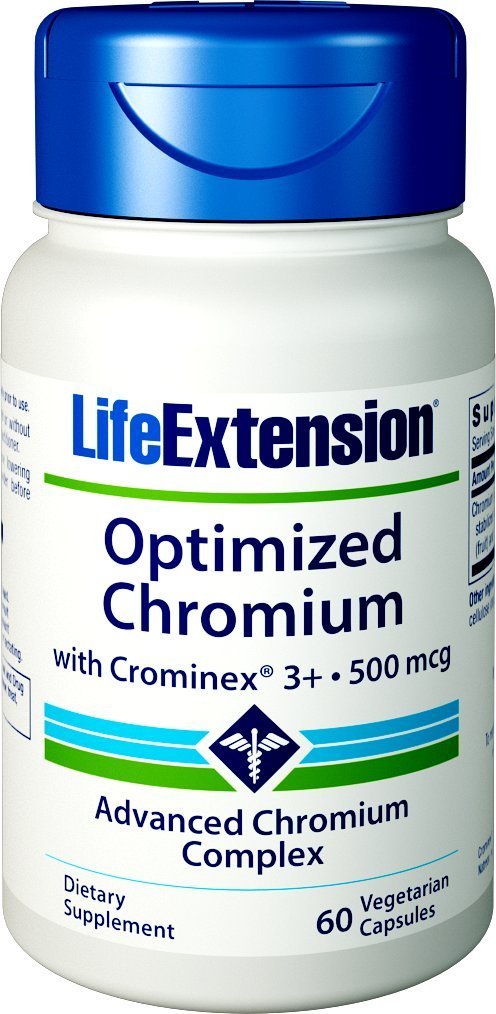Life Extension Optimized Chromium with Crominex 3+, 500 mcg,60 Vegetarian  Capsules