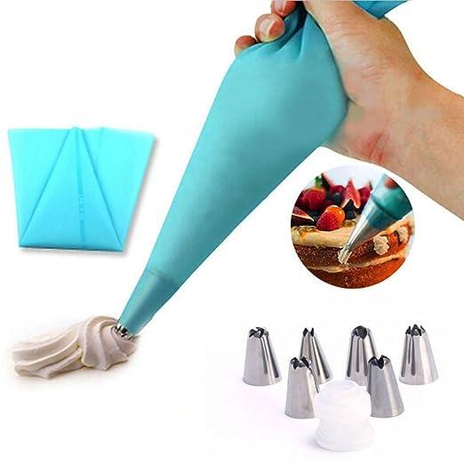 94 opinioni per EQLEF® Icing Piping silicone Crema tasca da pasticcere e 6 x acciaio inox ugello