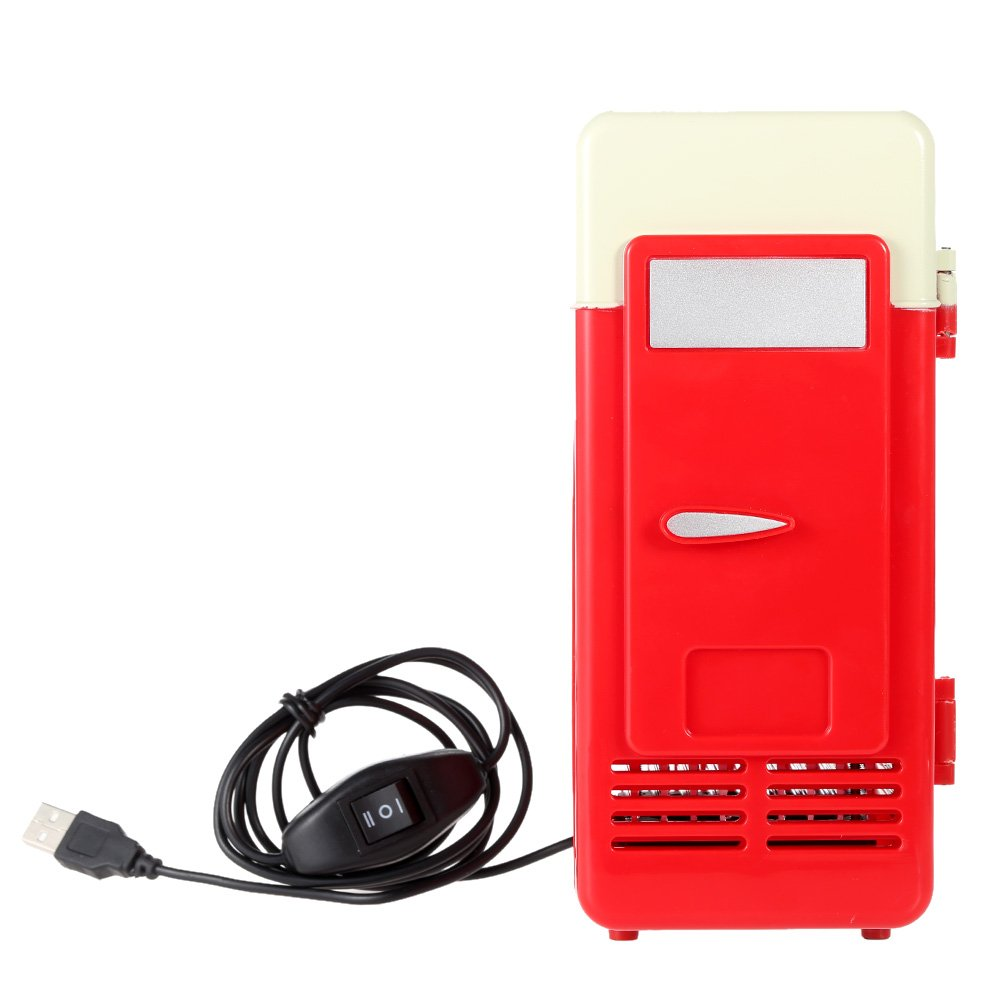 Mini Fridge, Portable USB Cooler and Warmer Dual-Purpose Refrigerator Small Fresh Keeping Cabinet for Office Outdoor by TRIEtree (red)
