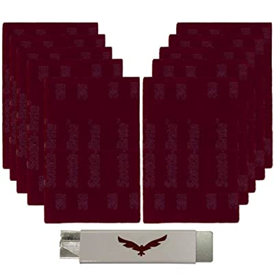 HMH Safety & Supply 3M Scotch Brite Pads with Razor Cutter. Set of 10 Very Fine 7447 Red Pads. Home and Industrial Abrasive Set: Automotive