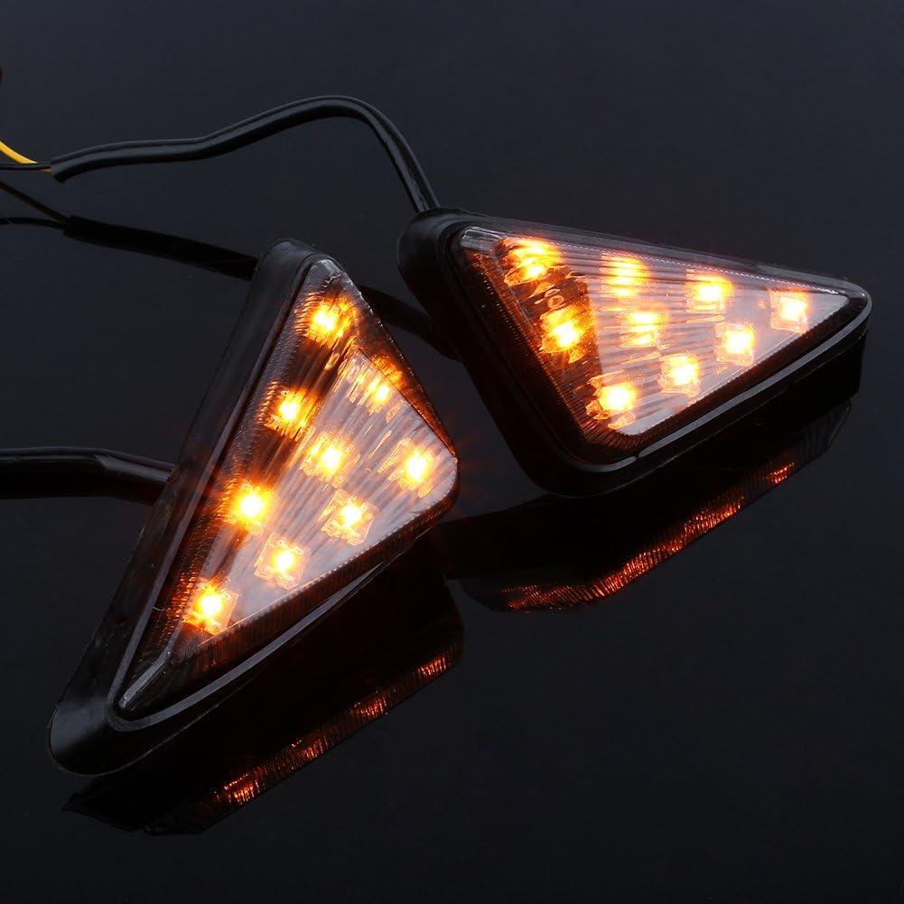Keenso Ambre LED Feux de Signalisation Voyants 12V Triangle Feux de Marqueur de Stroboscope Universel Jaune Lumi/ère 2 pcs Feux de Clignotants