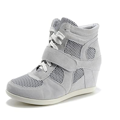 rismart Damen Keil Hakenschleife Arbeitsbereich Komfort Wildleder Mode Sneaker Schuhe 8522-2(Rose-2,EU37)