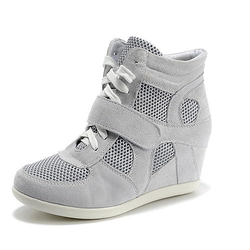 Rismart Mujer Zapatos Formal Oculto Tacón Cu?a Gamuza Tela Zapatillas (Gris,EU35.5)