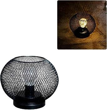 Lámpara de mesa vintage, jaula de metal industrial, luz de ...
