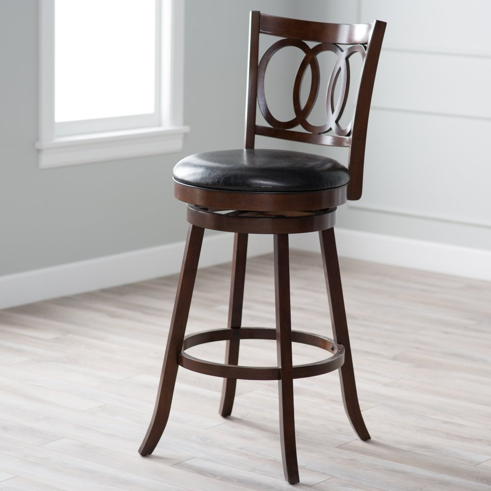 Amazon.com: Belham Living Woodward Extra Tall Swivel Bar Stool: Kitchen U0026  Dining