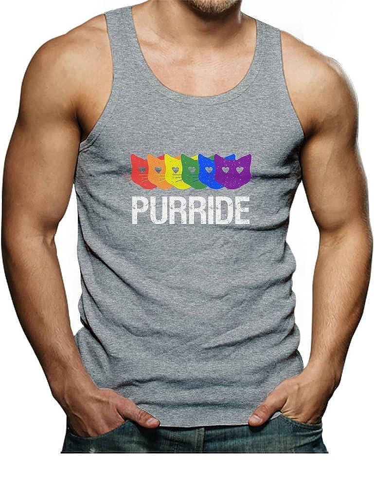 Purride Gay Pride Rainbow Cat Lover Funny Singlet TeeStars