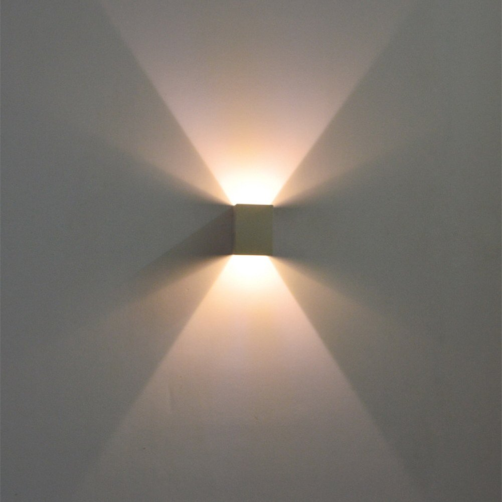Rrimin New 2W led wall lamp square led spot light aluminm modern home decoration light (Yellow)