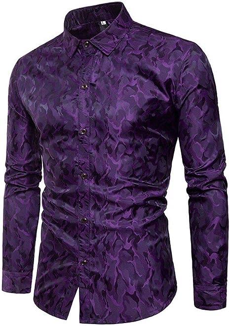 YFSLC-Studio Camisa De Manga Larga Hombre,Púrpura De Mens Moda Diseño Camuflaje Camiseta Slim Fit Camisetas Manga Larga Superior Formal Blusa Vestido Ropa Cómoda: Amazon.es: Deportes y aire libre