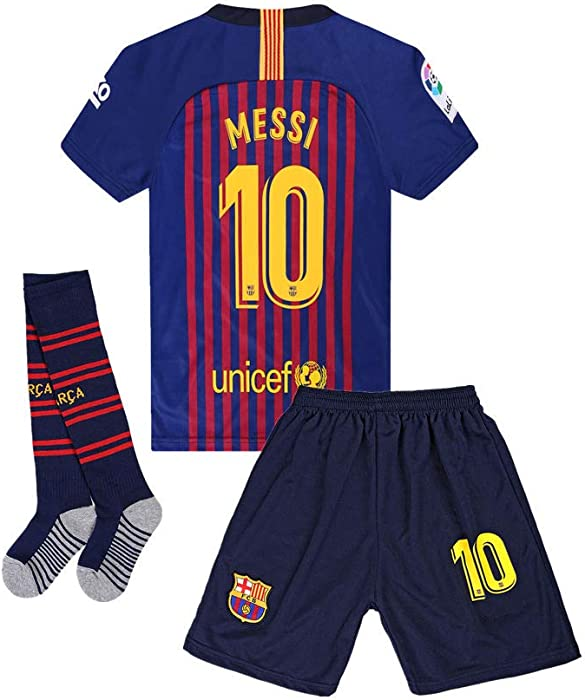 ANFUDSR 2018-2019 Barcelona  10 Messi Kids Youth Soccer Jersey   Shorts   aebca42da