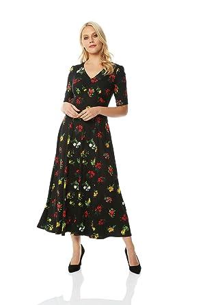 679cef61ec0 Roman Originals Women Midi Floral Tea Dress Ladies Smart at Amazon ...