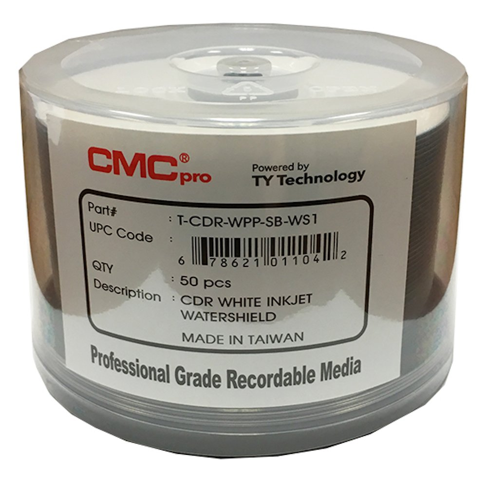 CMC Pro - Powered by TY Technology Watershield Glossy White Inkjet Hub 48x 80 Minute/700MB CD-Rs in 50 Disc Cake Box Spindle