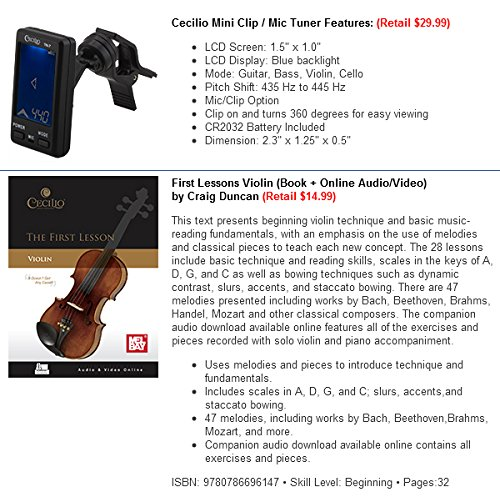 Mendini 4/4 MV-Black Solid Wood Violin with Tuner, Lesson Book, Shoulder Rest, Extra Strings, Bow and Case, Metallic Black Full Size by Mendini by Cecilio (Image #7)