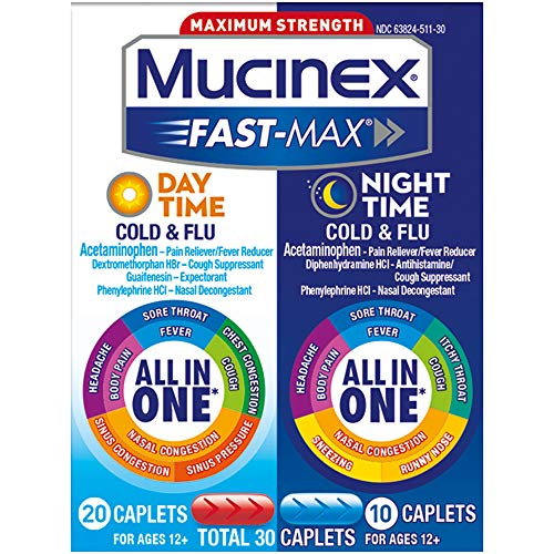 Cold, Cough, and Flu Maximum Strength – Mucinex Fast-Max Day/Night – 30 caplets – Fast relief for congestion, fever, aches, and sore throat ()