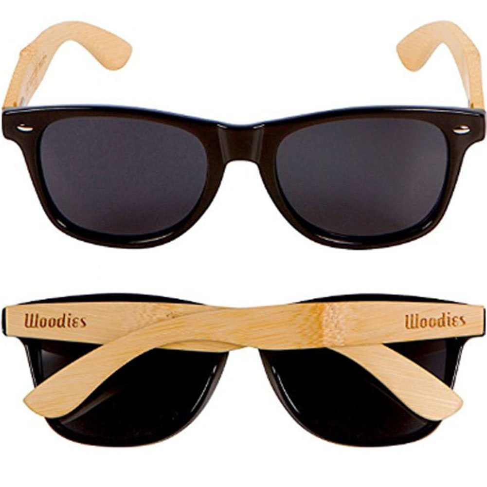 80d080beb6c Amazon.com  WOODIES Bamboo Wood Sunglasses with Black Plastic Frames and  Polarized Lens  Clothing