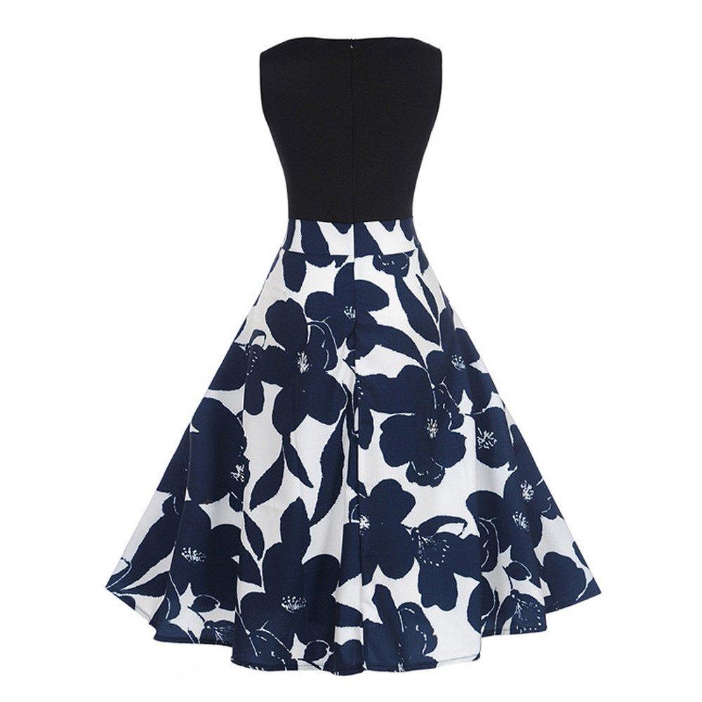Dragon868 Vestito donna elegante vintage, Fiori corto abito taglie forti 2xl Mini vestito cerimonia Sera 2018 estate (S)