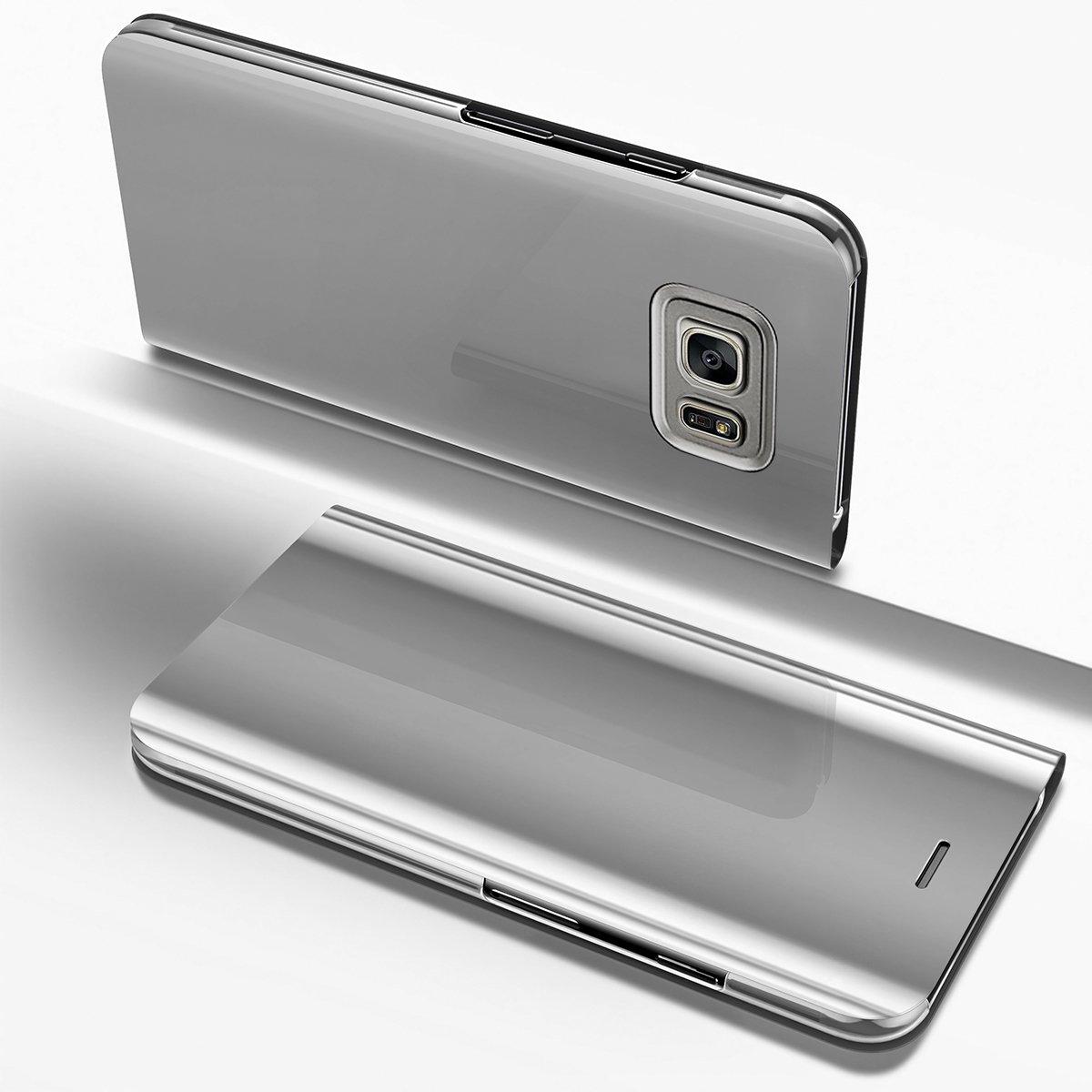 YSIMEE Cover Samsung Galaxy S7 edge, Custodie Specchio Placcatura Flip Cover Caso Pelle e Duro PC Protettiva con Clear View Design Funzione Supporto Chiusura Magnetica Bumper-d'oro