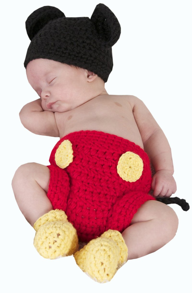 Amazon.com : Crochet Minnie Mouse Outfit Diaper Cover Skirt Bootie ...