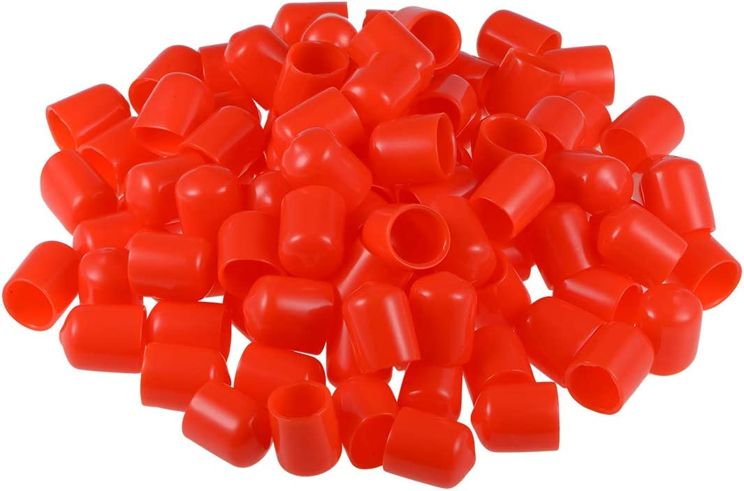 sourcing map Screw Thread Protectors 3//16-inch ID Rubber Round End Cap Cover Red Flexible Tube Caps Tubing Tip 100pcs