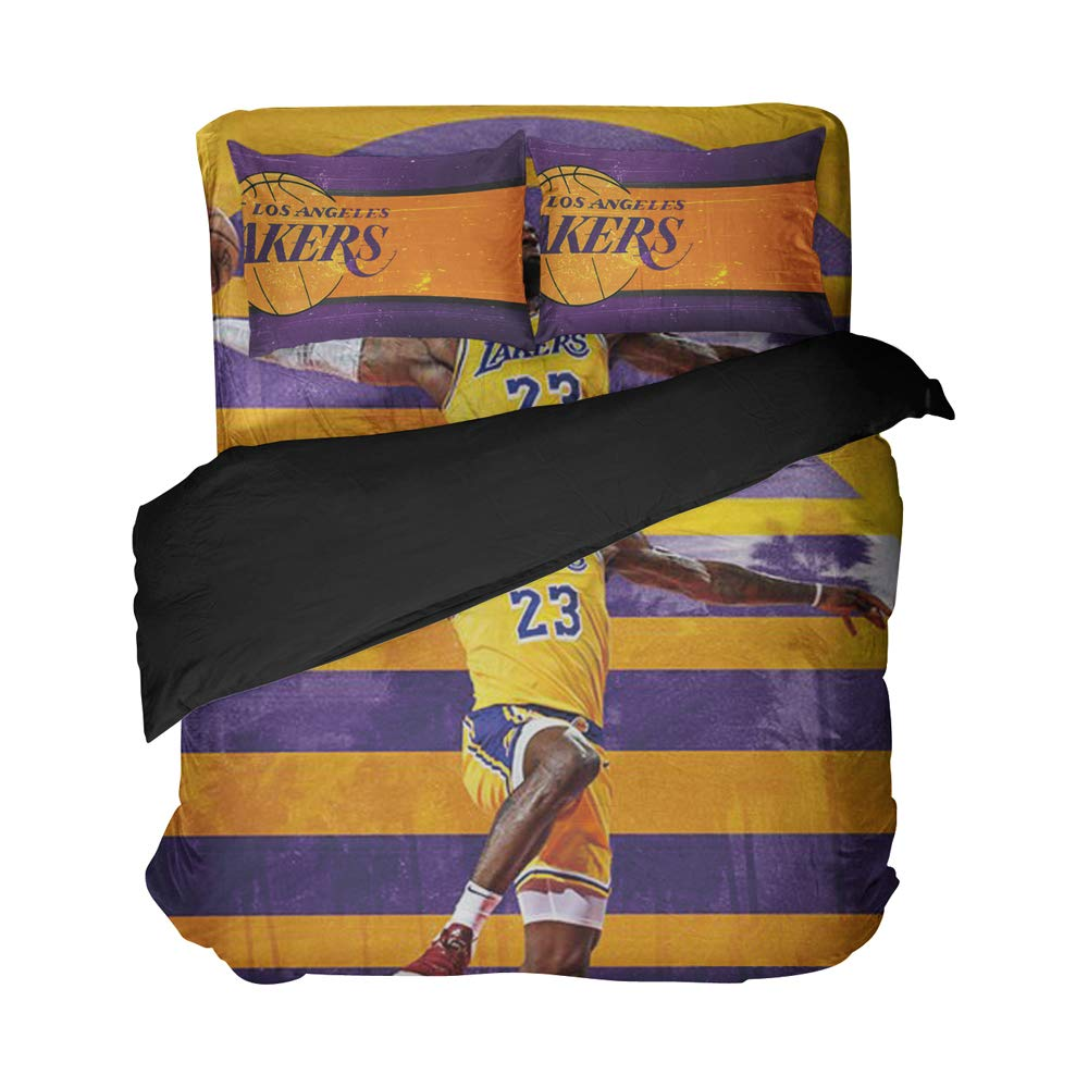 Magaport Men's Basketball Player Bedding Number 23 Duvet Covers 3D Printed Bed Set Los Angeles Bedspread Twin Queen King Full Size (Gold Purple, Queen 4pcs)