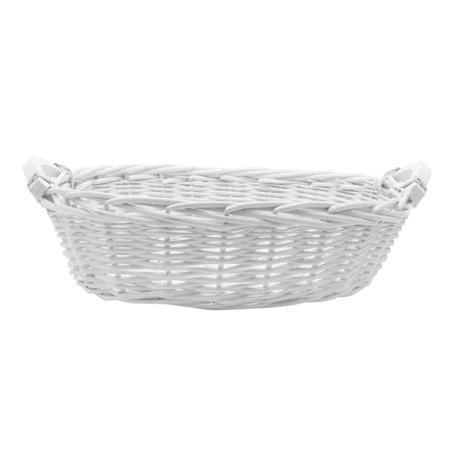 Royal Imports Picnic Gift Basket Braided Willow Handwoven for Fruits, Flowers, Storage or Bread, Oval with Short Handles, 15'', White by Royal Imports