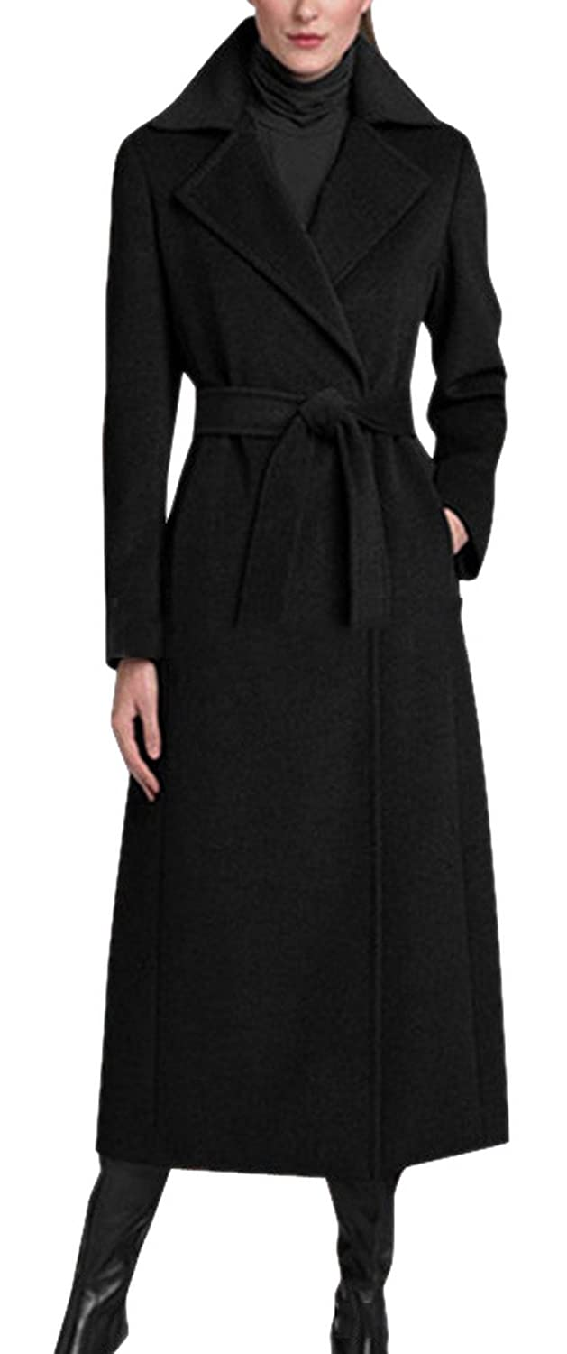Lingswallow Women's Wool Blend Black Long Maxi Wrap Belted Trench Coat Jacket