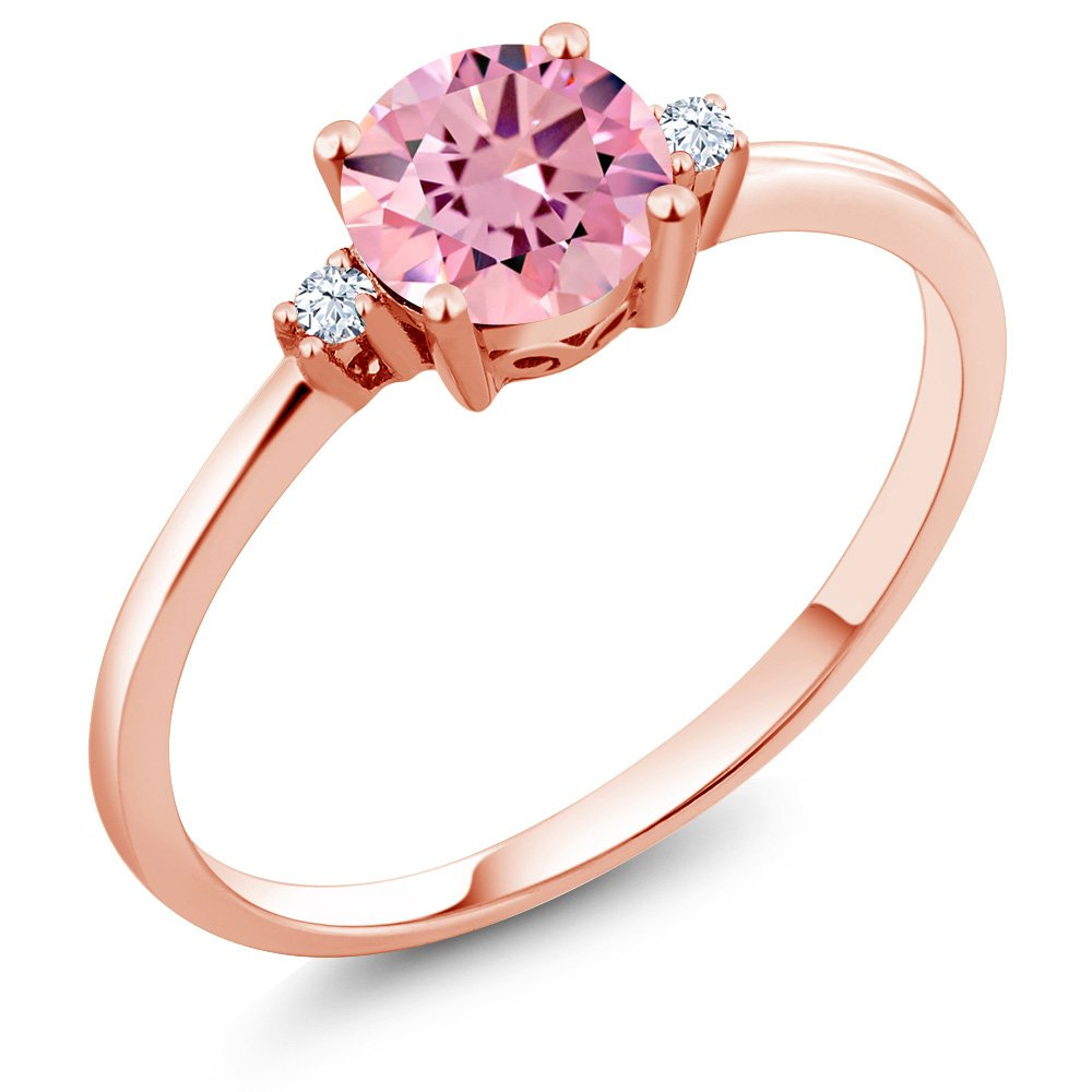 Gem Stone King 10K Rose Gold Engagement Solitaire Ring set with 1.53 Ct Round Pink Zirconia and White Created Sapphires (Available 5,6,7,8,9)