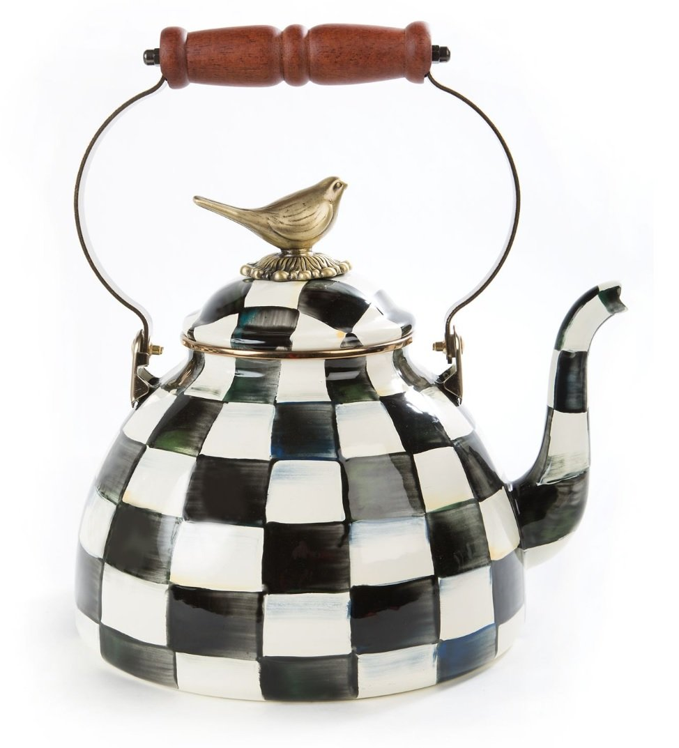 MacKenzie-Childs Courtly Check Enamel 3 Qt. Tea Kettle with Bird by MacKenzie-Childs