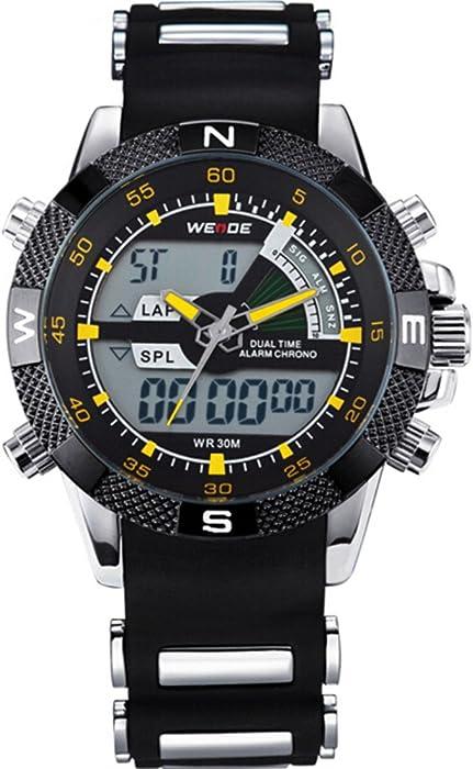 WEIDE relojes hombres marca de lujo famoso logotipo Militar LCD luminoso analógico digit.