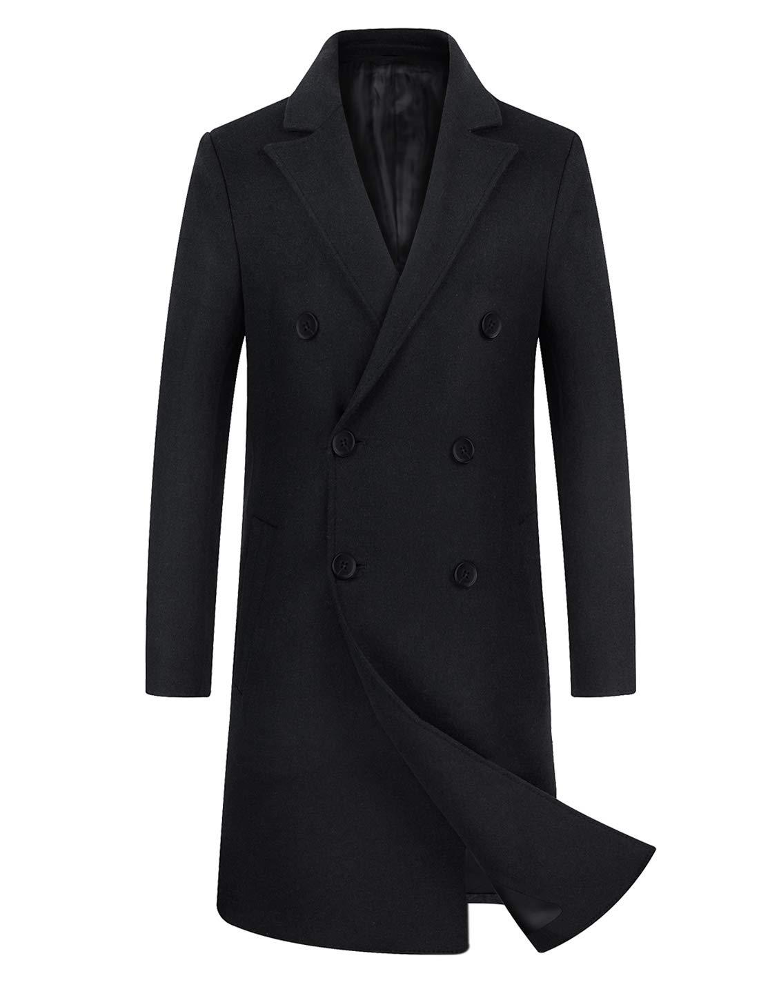 zeetoo Men's Wool Trench Coat Winter Slim Fit Wool Jacket Long Peacoat Overcoat Black Double-Breasted XX-Large by zeetoo