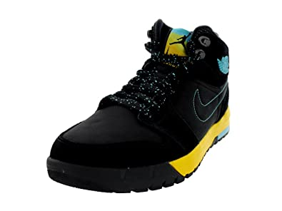 Nike Jordan Mens Air Jordan 1 Trek Black Gamma Blue Varsity Maize Boot 12