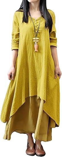 TALLA 5XL. Romacci Vestido Suelto Vestido Ocasional de Las Mujeres Manga Larga Sólida Maxi Vestido Largo de Boho Amarillo 5XL