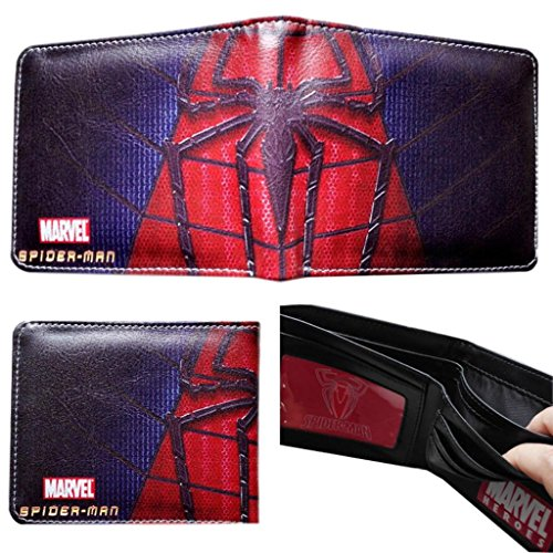 Marvel Comics Spiderman Spider Logo Bifold Men's Boys Wallet w/Gift Box By Athena