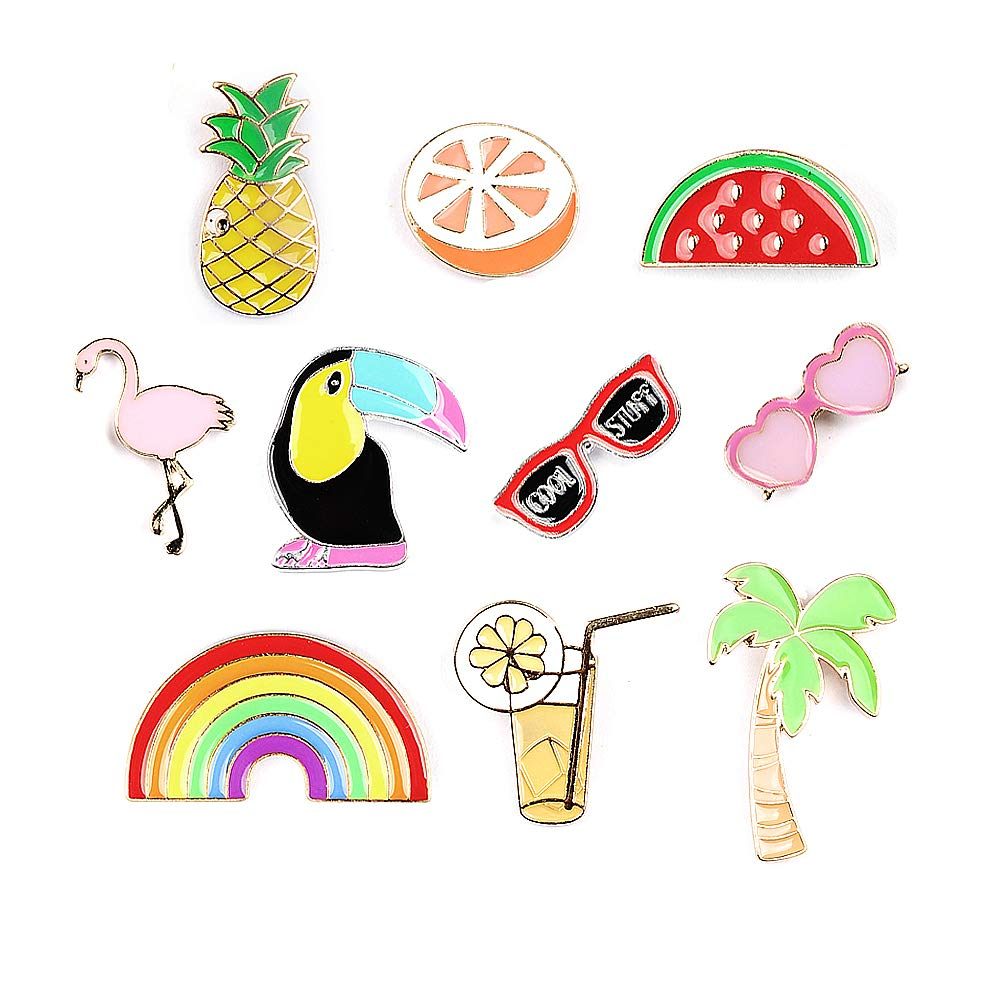 Summer Rainbow Brooch Flamingo Pins Enamel Lapel Pins Sets Novelty Plant Animal Fruit Brooches for Clothing Bags Backpacks Jackets Hat by SloveM