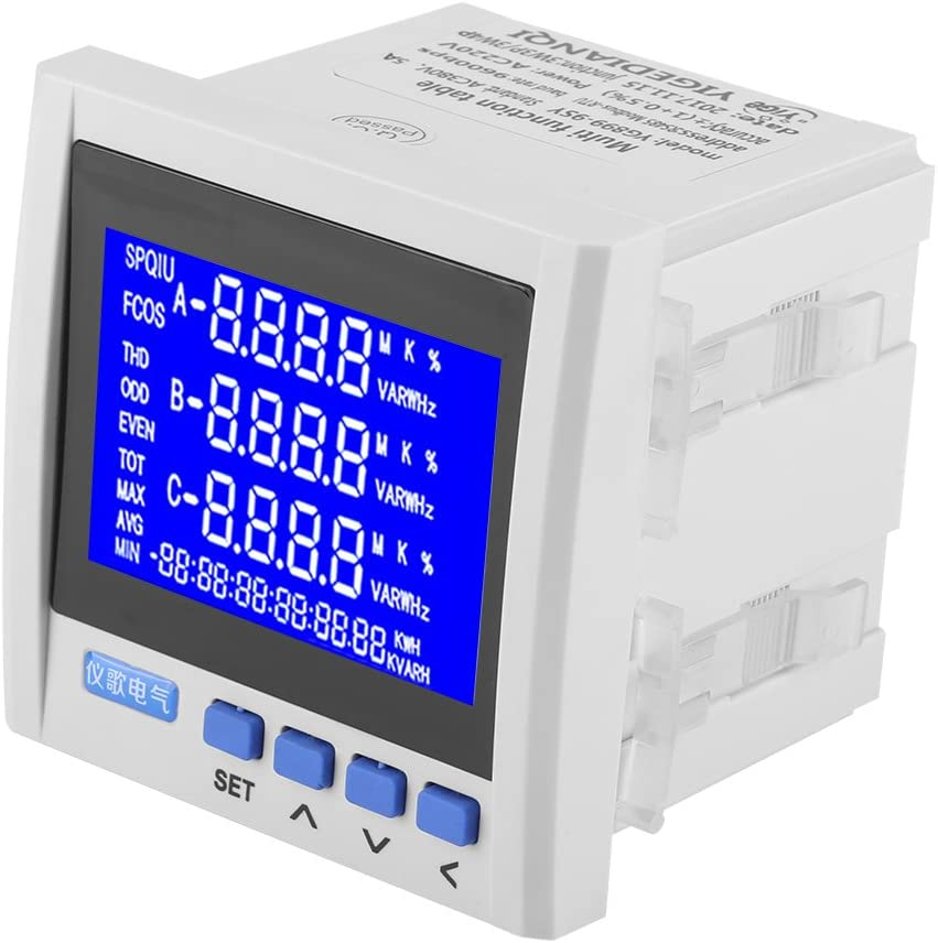 3 Phase Ac Electric Voltage Meter Multifunction Digital Lcd Panel Meter Current Voltage Frequency Power Energy Meter V A Hz Kwh Rs485 White Amazon Com