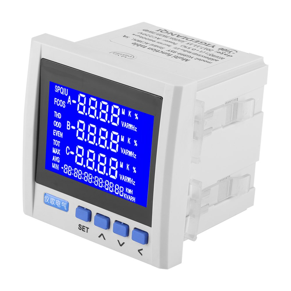 3-Phase AC Electric Voltage Meter, Multifunction Digital LCD