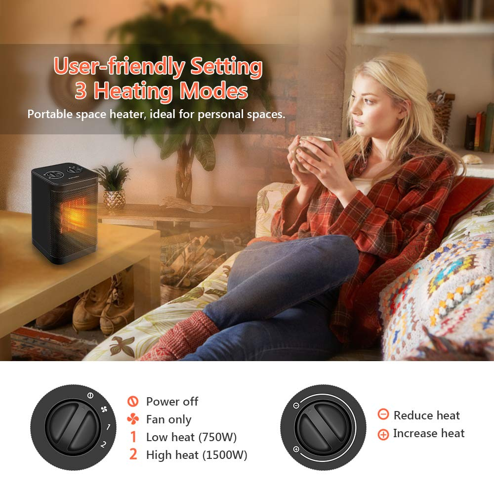 Portable Indoor Electric Space Heater- 3 Settings(1500/750W), Adjustable Thermostat with PTC Ceramic Heating Element, Tip-Over and Overheat Protection, for Office, Home