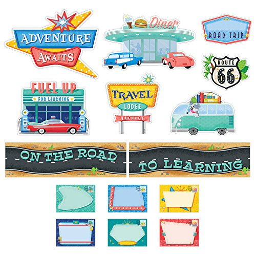 Adventure Bulletin Board Set - Creative Teaching Press Mid-Century Mod On the Road to Learning Mini Bulletin Board Set (8444)