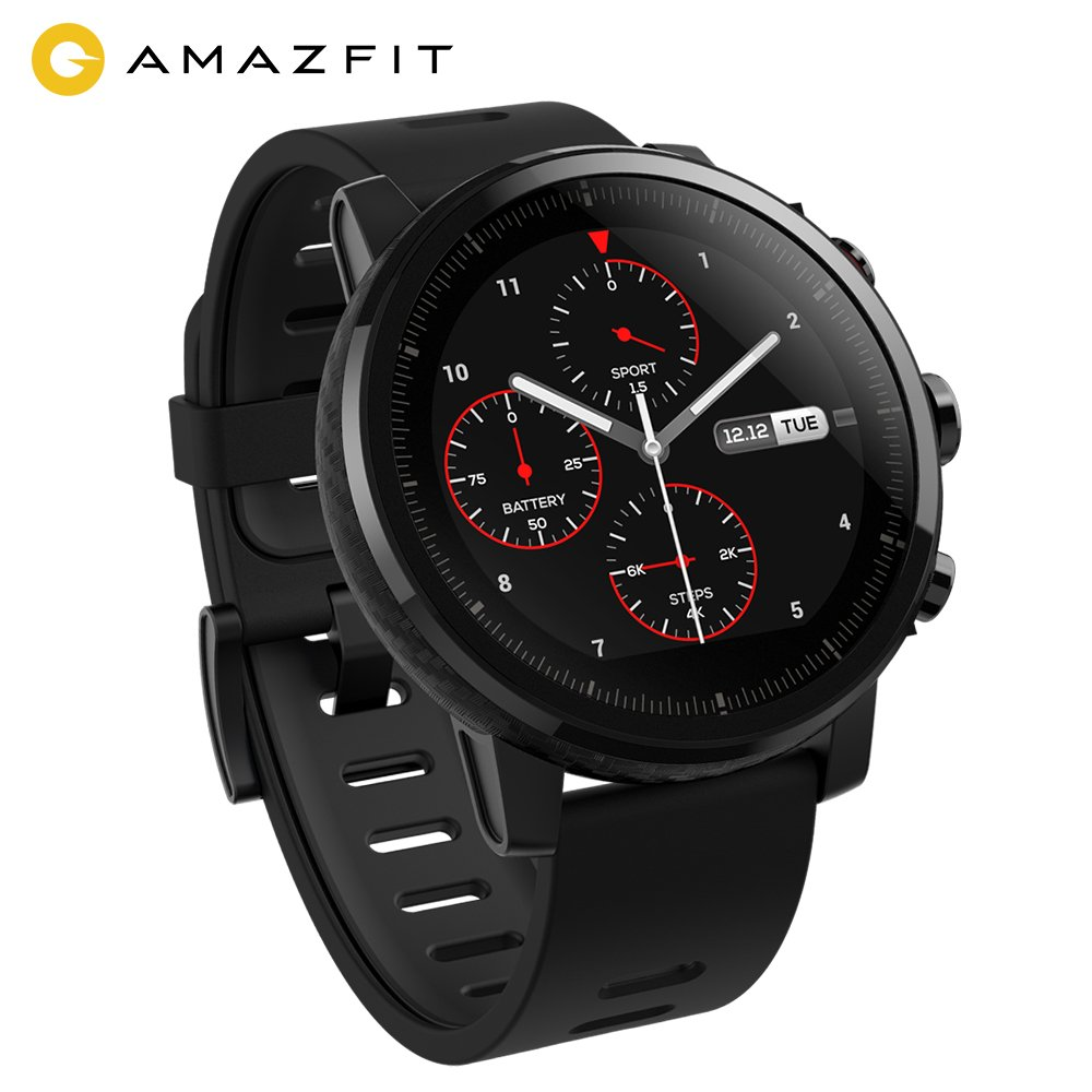 AMAZFIT Stratos 2 Smartwatch, Orologio Sportivo con GPS+GLONASS, 5 ATM di Resistenza all'acqua, VO2max Analisi Del Livello di Forma Fisica, Sensore di Frequenza Cardiaca, Touch Display, Notifiche, Funziona con iOS e Android Smartphone