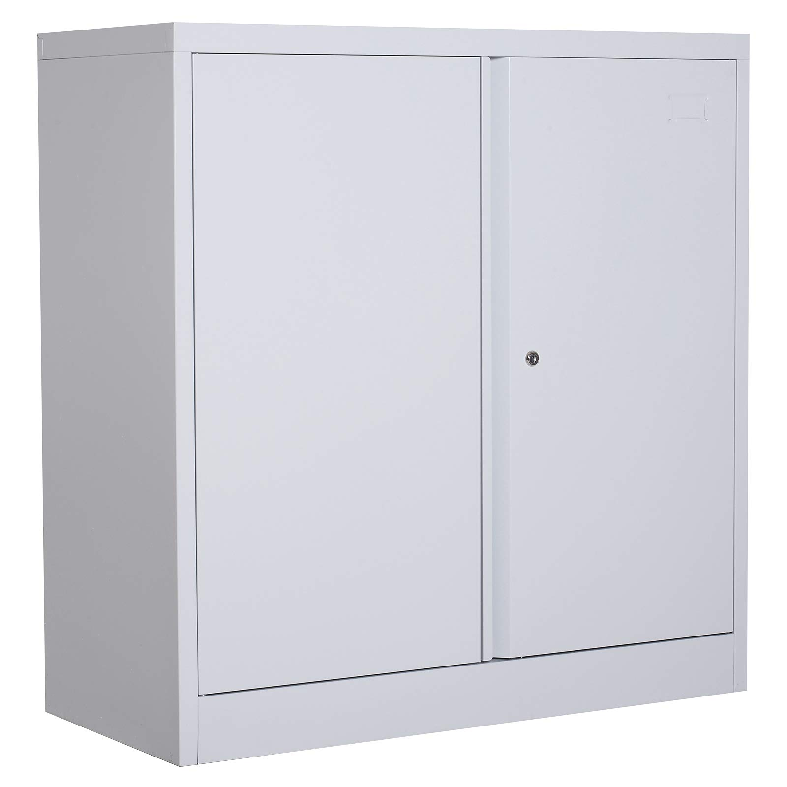 HOMCOM 36'' Counter Height Metal Locking Storage Cabinet with 2 Adjustable Shelves - White by HOMCOM