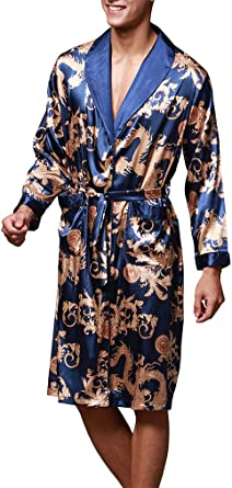 OLIPHEE Hombre Floral Kimono Pijama Albornoces Ropa