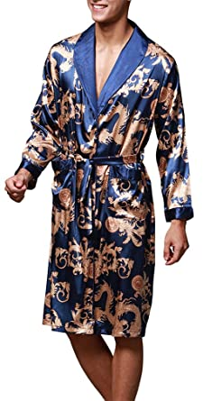 FLYCHEN Men s Shawl Collar Kimono Robe Satin Floral Bath Sleepwear 2XL  Royal Blue 461a7e621